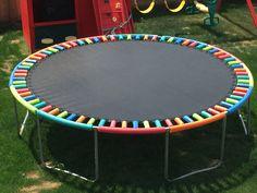 pool im garten ideen DIY: Pool Noodle Safety Hack For Springs on Trampoline Pool Noodle Trampoline, Trampoline Springs, Best Trampoline, Backyard Trampoline, Trampoline Spring Cover, Trampoline Safety, Backyard Playground, Backyard For Kids, Backyard Games