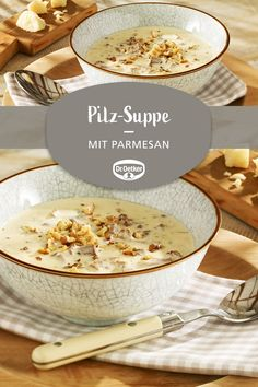 Parmesan-Pilz-Suppe Parmesan mushroom soup: Delicious soup with chanterelles and two kinds of cheese # lunch # mushroom lovers # dinner Gourmet Recipes, Soup Recipes, Healthy Recipes, Mushroom Soup, Mushroom Recipes, Parmesan Soup, Pork Chop Recipes, Clean Eating Snacks, Fall Recipes