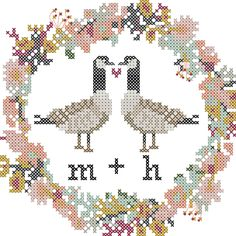 Candadian Geese Wedding Cross Stitch pattern with round floral border and full capital alphabet for you to personalize as needed by oneofakindbabydesign on Etsy Cross Stitch Tree, Cross Stitch Borders, Modern Cross Stitch, Counted Cross Stitch Patterns, Cross Stitch Designs, Cross Stitching, Cross Stitch Embroidery, Wedding Cross Stitch Patterns, Learn Embroidery