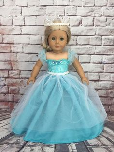 American Girl Custom OOAK Cinderella-Inspired Elegant Dress Set