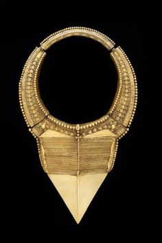 "Large and imposing rigid gold neckpiece (""hasli""), probably worn by a Muslim woman, or possibly used to adorn a deity image. India, Tamil Nadu, 19th c. From ""Ethnic Jewellery and Adornment"", p. 330."