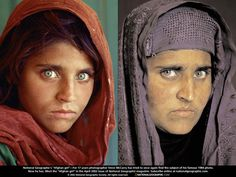 1985: THE AFGHAN GIRL (THE NATIONAL GEOGRAPHIC) ... this young Afghan girl always caught my attention with her beautiful eyes  powerful stare...the picture to the right is the same woman today, now grown with her own children.