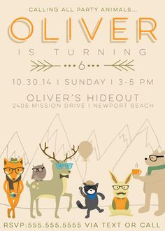 Hipster party animals invite by A Pretty Little Party (via Etsy).