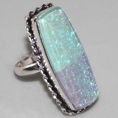 O2629   HUGE Created Opal & 925 Silver Overlay Ring US 10
