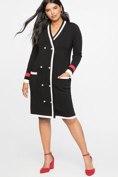 094722a2d59 Black and White Plus Size Cardigan Sweater Dress - A classic silhouette  with feminine and polished