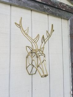 Geometric Wall Decor / Iron Deer Head / Metal Deer Art/ Deer