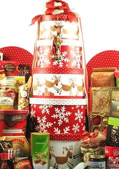 Reindeer Games Holiday Gourmet Gift Tower - http://www.specialdaysgift.com/reindeer-games-holiday-gourmet-gift-tower/