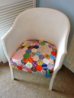 Vintage patchwork on my Lloyd Loom chair