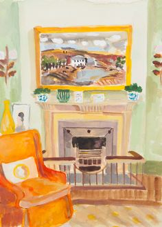 Lottie Cole Interior with Christopher Wood and Orange Chair Signed Watercolour on paper 14 1/8 x 10 1/4 in 36 x 26 cms (LC083)