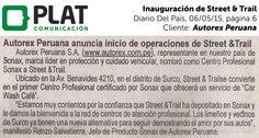 Autorex Peruana: Inauguración de Street & Trail en el diario Del País (06/05/15)