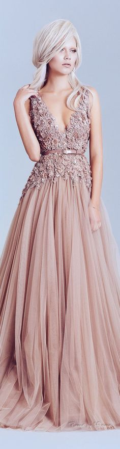 Alfazairy Spring-summer 2015. Wedding dress in pink or you can wear this to a red carpet