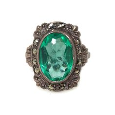 Art Deco Uncas Green Glass Ring Sterling Silver Marcasites Size 6 Sold As Is