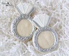 Listing is for one dozen (12) hand decorated Diamond Ring cookies. Can be found in Gold here >>>