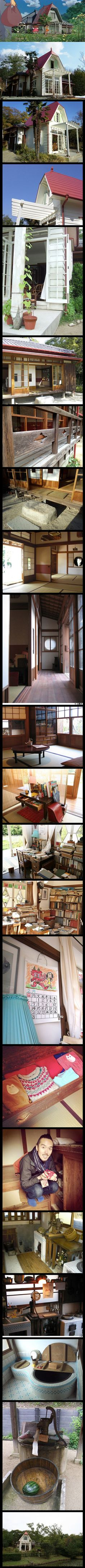 "This is a real life reproduction (complete with furnished interior!) of Satsuki and Mei's house from ""My Neighbor Totoro"";. Apparently it was built back in 2005 For the World's Fair near Nagoya, Japan and was designed by Hayao Miyazaki's son Gorō."