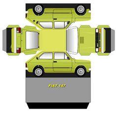 Cut-Fold and Glue-papercraft model-Brazilian Paper Model Car, Paper Car, Paper Models, Cardboard Toys, Paper Toys, Mr Bean Birthday, Mr. Bean, Fiat Uno, Printable Box