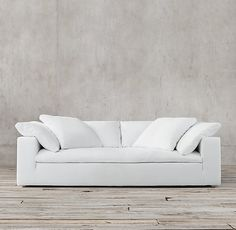 Cloud Track Arm Slipcovered Sofa.  Like the bench look, but not slipcovered