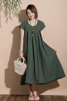 Comfort Linen Maxi Dress / Unique Summer crochet