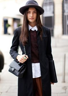 Jacquelyn Jablonski in classic fashion style seems to be rather old and reserved, but modern with a Chanel bag