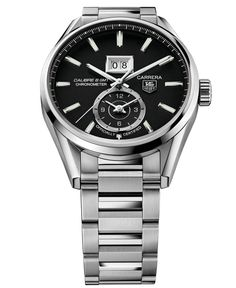Tag Heuer Men's Swiss Automatic Carrera Calibre 8 Grande Date Gmt Cosc Stainless Steel Bracelet Watch 41mm WAR5010.BA0723