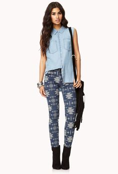Ganado Girl Skinny Jeans | FOREVER21 How would you rock these #SkinnyJeans #Denim #Printed