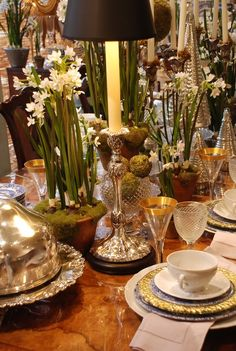 Table Setting with Gold, Silver & Flowers