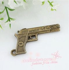 5pcs antiqued brass pistol charms WU413 by ministore on Etsy, $3.90