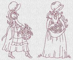 Sunbonnet Ladies Evenings Redwork Macine Embroidery Designs CD | eBay
