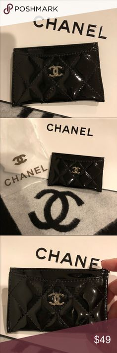 """Authentic NWOT Chanel VIP Gift Cardholder!! Authentic NWOT Chanel VIP Gift Cardholder!!  100% Authentic VIP gift item, no authentication card or tag.  Black Faux Patent Leather with silver CC Logo.  Size:Width 4.5"""" Height 3.0"""" Depth 0.1""""  Made in Italy 4 card slots, one at front, 1 at middle, 2 at back  Chanel released a few VIP cardholder and this is the best among all. Shiny Faux Patent Leather, quality is very good! Will Ship it as it came as packed in last picture shown. Great deal! Ship…"""