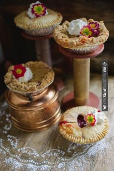 Neat! - assorted pies - sweet way to display | CHECK OUT MORE IDEAS AT WEDDINGPINS.NET | #weddings #rustic #rusticwedding #rusticweddings #weddingplanning #coolideas #events #forweddings #vintage #romance #beauty #planners #weddingdecor #vintagewedding #eventplanners #weddingornaments #weddingcake #brides #grooms #weddinginvitations