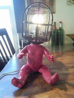 Weird Goth Baby Doll Head Lamp Inspired by Tim Burton stuff and Silent Hill