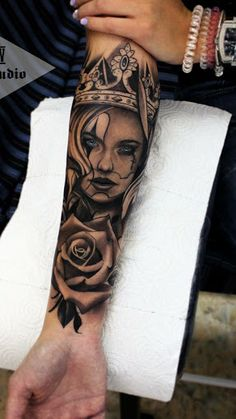 Made by Vladimir Drozdov Tattoo Artists in Kyiv, Ukraine Region tatoo feminina, tatoo feminina delic Girl Arm Tattoos, Girls With Sleeve Tattoos, Dope Tattoos, Best Sleeve Tattoos, Body Art Tattoos, Tattoo Sleeve Girl, Forearm Tattoos For Men, Tatoos, Portrait Tattoo Sleeve