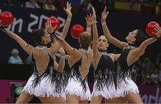 El equipo español, durante la final de gimnasia rítmica.