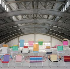 Furniture, Lovely Colorful Conference Chairs With Wonderful Joint Steel Web Beam Ceiling Exposed: Cool Conference Room With Fancy Furniture ...