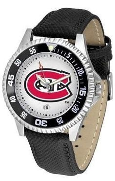 St. Cloud State Men's Leather Sports Watch by SunTime. $68.95. Date Calendar And Rotating Bezel. Officially Licensed Saint Cloud State Huskies Men's Leather Sports Watch. Men. Poly/Leather Band. Adjustable Band. St. Cloud State Huskies men's leather wristwatch. St. Cloud State Huskies wrist watch features functional rotating bezel color-coordinated to compliment team logo. A durable, long-lasting combination nylon/leather strap, together with a date calendar, round out t...