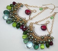 Red Green Gemstone Chandelier Earrings Gold Fill Statement Wire Wrapped
