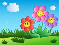 Tři kreslené květiny na louce — Stock Vektor © clairev #5595149