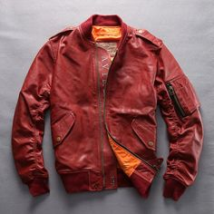 Red Goatskin Leather Air Force Military Style Motorcycle Jackets Men SKU-116089