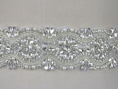 2015 New Arrival Exquisite Crystal Rhinestone Czech Diamonds Glass Diamonds And White Pearls Wedding Dress Belt Bridal Sash