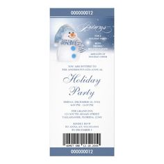 Snowman Holiday Party Ticket Invitations Template