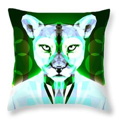 Puma Throw Pillow by Filip Aleksandrov