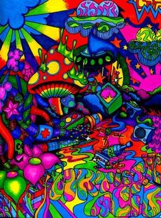 Psychedelic sounds of the Psychedelic Art, Hippie Painting, Trippy Painting, Pintura Hippie, Comic Cat, Trippy Pictures, Trippy Drawings, Acid Art, Stoner Art