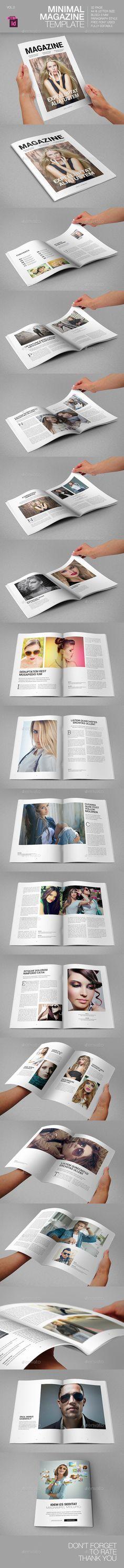 Minimal Magazine Template — InDesign INDD #fashion #style magazine • Available here → https://graphicriver.net/item/minimal-magazine-template/9228003?ref=pxcr
