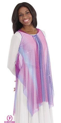 Eurotard Draped Chiffon Tunic with Gathered Neckline - Child