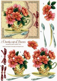 """A lovely cup of flowers on Craftsuprint designed by Bodil Lundahl - This design is no. 4 in a serie of five with vintage flowers taken from old books or postcards. I think these old drawings and paintings are so beautiful that they deserve not to be hidden in drawers or boxes, and therefore I have given them a new """"vintage-like"""" background. They'll all make very, very pretty cards which can be used for what ever occasion you may like. The cutting is maybe not the easiest part of it, but the…"""
