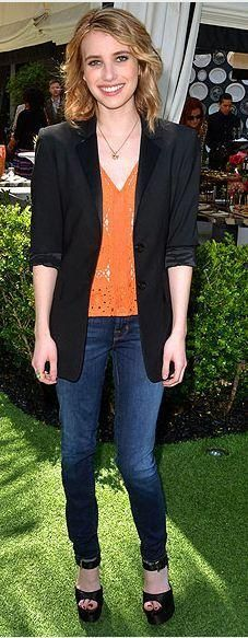 Who made Emma Roberts' black platform sandals and orange top that she wore in Santa Monica? Shoes – Brian Atwood  Shirt – Tracy Reese
