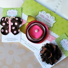 Pink and Brown Fall Headband Baby Gift Set by MyLittlePixies. , via Etsy.