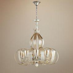 "$2700 lamps plus Lucile 32"" Wide Murano Cognac Glass 10-Light Chandelier"