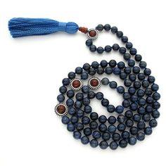 8mm Dumortierite 108 Tibetan Style Full Buddhist Malas, Mala Necklace, Knotted Gemstone Mala Beads Japa Rosary Meditation Yoga