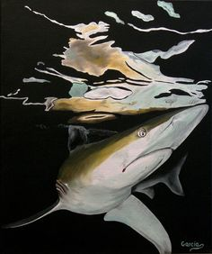 "Oil painting titled ""Fish Reflections - Blacktip Hunting"", done on a 20"" x 24"" x 1.5"" canvas. Frame not required, image wraps around edges of canvas. Available at www.etsy.com/shop/apaintedcanvas"