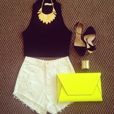 White high waisted shorts and black crop with black heels. Love